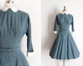 vintage 1950s dress // 50s blue fleck dress with belt