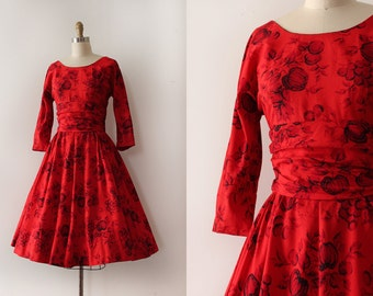 vintage 1950s novelty dress // 50s pumpkin Fall dress
