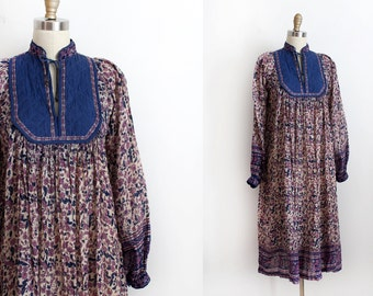 vintage 1970s dress  // 70s Indian cotton dress