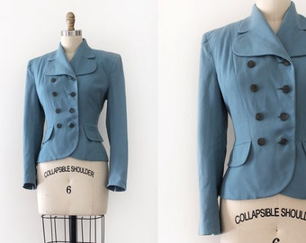 vintage 1940s jacket // 40s blue wool blazer