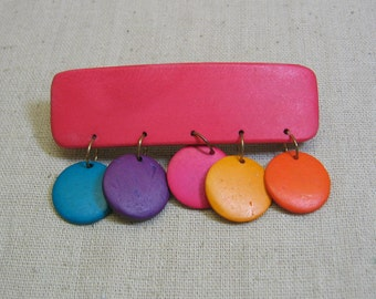 Vintage Candy Colored Wood Disc Hair Barrette