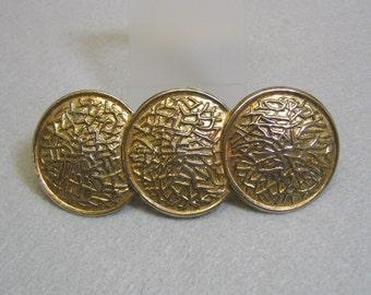 Large Golden Brass Disc  Design Hair Barrette, Vintage