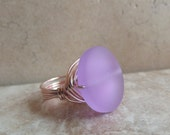 Purple Sea Glass Ring:  Rose Gold Wire Wrapped Wide Band Statement Ring, Romantic Lavender Beach Wedding Jewelry, Size 7