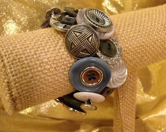 Silver and Gray Button Bracelet