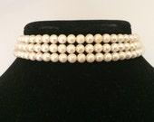 Triple Strand Faux Pearl Choker Necklace
