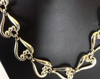 Signed Coro Vintage Decorative Link Collar Necklace
