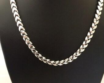 High Quality Coro decorative silver tone chevron link collar necklace