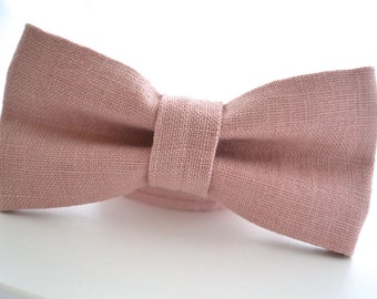 Mens Bowtie in Dusty Pink Linen, Mauve Bow Tie, Dusty Pink Bow Tie, Dusty Rose Bow Tie, Groomsmen Bow Tie, Wedding Bow Tie, Adjustable Strap