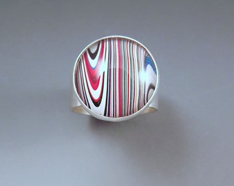 Fordite- Detroit Agate- Vivid Stripes- Michigan Made- Hammered Sterling Silver Ring