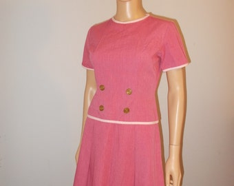 Vintage Dress Red with Striped Trim and Gold Buttons and Pleated Skirt Cute