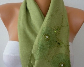 Grass Green Embroidered Scarf,Wedding Shawl,Oversize,Evening Wrap,Bridesmaid,Bridal Accessories,Gift For Her, Women Fashion Accesssories