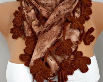 Earth Tones - Brown Scarf  Fringe Scarf Cowl Scarf by Fatwoman best selling item scarf Women Fashion Accessories Winter Accessories