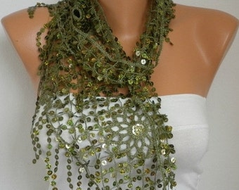 Sequin Scarf -Floral - Women Shawl Scarf - Belly dancer Belly Dance Cowl Scarf Lace Scarf Gift Ideas For her Women Fashion Accessories