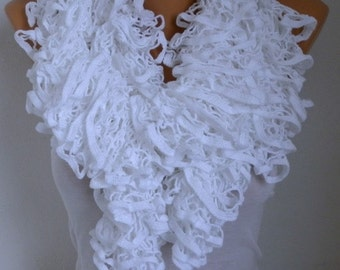 White Knit Ruffle Lace Scarf, Winter Accessories, Cowl Scarf Gift Ideas For Her Women Fashion Accessories, Valentine's Day Gift