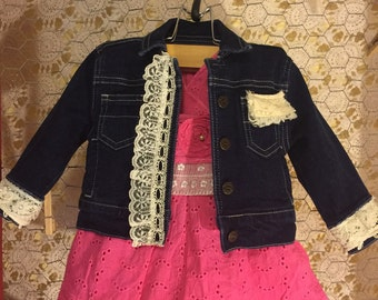 Restyled 6 month baby girl dress and jean jacket.dress. Vintage lace silks and doilies embellish this Boutique set