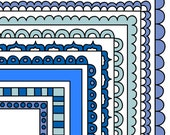 Blue Digital Frames - Stackable Doodle Borders - Instant Digital Download Commercial Use Clipart