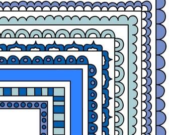 Blue Digital Frames - Stackable Doodle Borders - Instant Digital Download Commercial Use Clipart