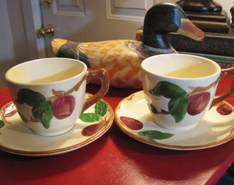Vintage Franciscan Apple Pattern Teacups and Saucers 1940's
