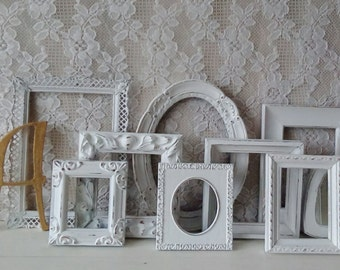 Picture Frames, Small Frames set, Frame Gallery, Frame grouping, Shabby Cottage chic, Nursery, White Frames
