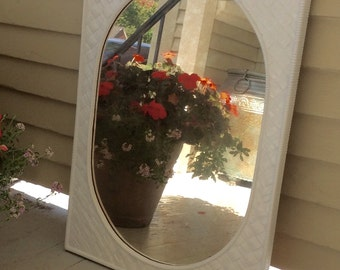 Free Shipping Vintage Basketweave Wall Mirror / Upcycled White Plastic Mirror / Syrocco Mirror / Garden Mirror