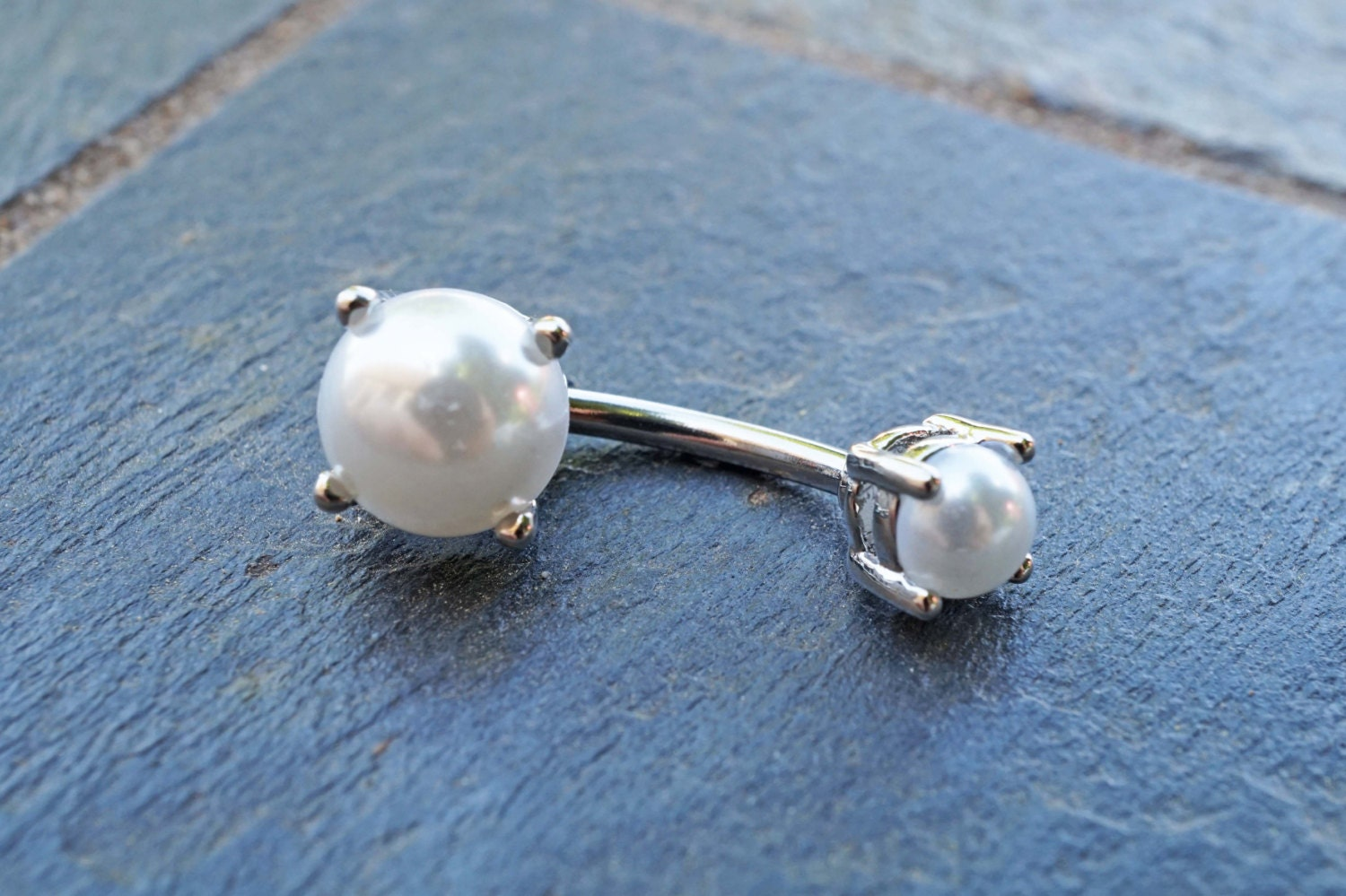 Pearl Prong Set Belly Button Ring