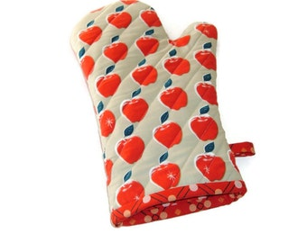 Oven Mitt - Red Apples - Gift for Foodie - Gift Under 20