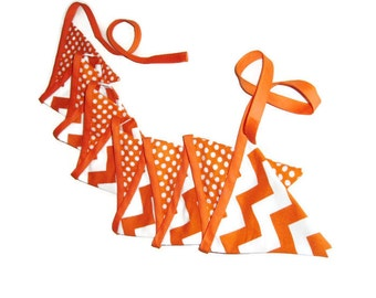Orange and White Bunting - School Colors - Halloween Bunting - Chevrons and Dots - 12 flags - 9 feet