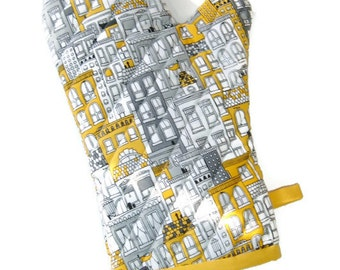 Oven Mitt - Gray and Yellow Potholder - Unisex Oven Mitt -City Life- Gift for Foodie-Gift Under 20