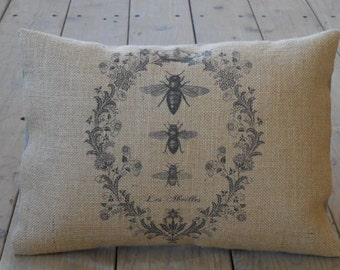 French Bee Burlap Pillow, Shabby chic, Bees ,Apiary, INSERT INCLUDED
