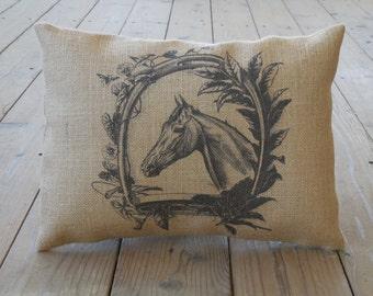 Horse Wreath Burlap Pillow, Shabby Chic, Horses, INSERT INCLUDED