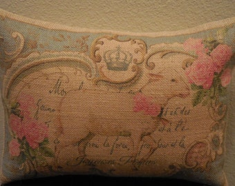 Vintage Lamb Burlap Pillow, Shabby Chic, INSERT INCLUDED