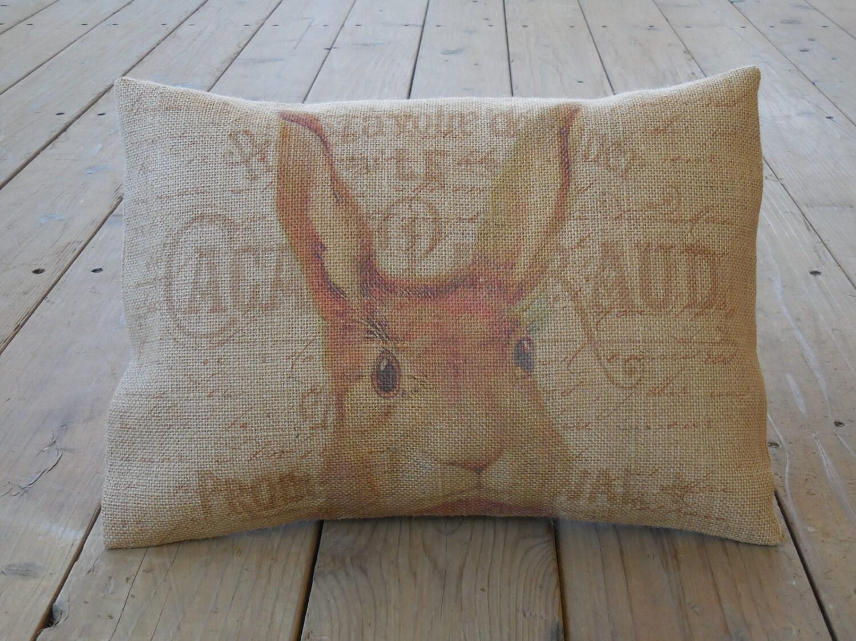 Shabby Chic Burlap Pillows : French Rabbit Head Burlap Pillow Shabby Chic INSERT INCLUDED