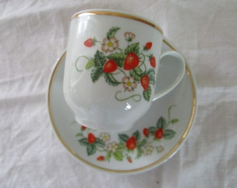 Avon Strawberry Demi Cup and Saucer   Vintage Collectible