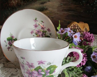 Fine Bone China Violets Teacup and Saucer    Crown Trent  Staffordshire England