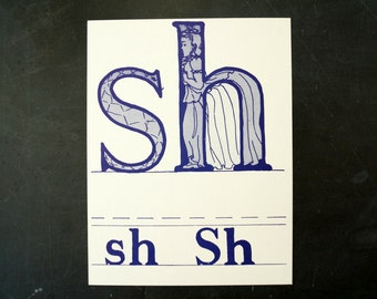 "Vintage Letters ""SH"" Flashcard / Phonics Card, 7"" tall (c.1958) - Collectible, Altered Art Ephemera, Home Decor, and more"
