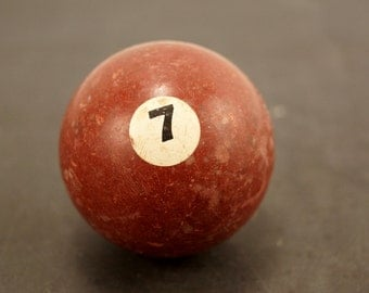Vintage / Antique Clay Billiard Ball Burgundy Number 7, Standard Pool Ball Size (c.1910s) - Collectible, Home Decor, Altered Art