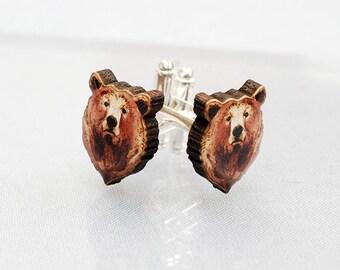 Illustrated Brown Bear Cufflinks.