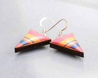 Pink Striped Triangle drop earrings