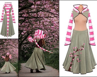 Cherry blossom. Fleece 'Korrigan' Shrug or/and Fleece maxi 'Telmandolle' skirt