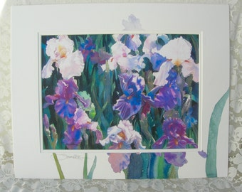 Purple & White Irises, large original art work, signed by artist, vintage, never used, like new, laser print