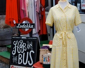 1950s Day Dress // Yellow Gingham // Size L // Vintage