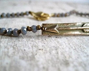 Bronze Arrow and Faceted Czech Glass Bead Bracelet
