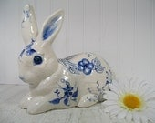 Vintage Delft Blue Hand Painted Ceramic Bunny - Decorative Blue Florals on Crackled White Finish Pottery Very Large Rabbit - Cottage Decor