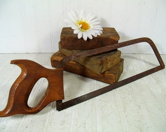 Hand Saw Wooden Handle Miter Saw Antique Rusty Crusty Old for Decor Collectible Vintage Single Blade Metal Hand Saw - Rustic Cabin Tool Saw
