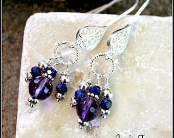 Amethyst & Lapis Lazuli Filigree Teardrop Earrings, Sterling Silver, Gemstone Dangel Earrings, Handmade, Handcrafted, Artisan, Womens Gift