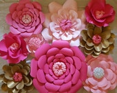 RTS Large Paper Rose Paper Flower Photo Prop Backdrop Set of 9 Shades of Pink and Gold Flower Wedding Nursery Decor RTS Ready to Ship