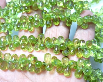 Peridot Briolette Faceted Tear Drops Size 7.5MM Approx 8 Inches -80Pc AAA High Quality  100% Natural Gemstone Wholesale price