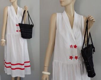 90s Mulberry Sailor Striped drop waist White minimalism Sleeveless DaynDress M-L