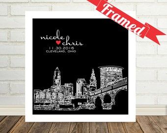 Cleveland Skyline Newlywed Gift Cleveland Art Print Poster Personalized FRAMED ART Any City Available Newly Wed Gift Just Married Gift