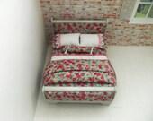 Dollhouse sleigh bed-country cottage/farmhouse/shabby style OOAK